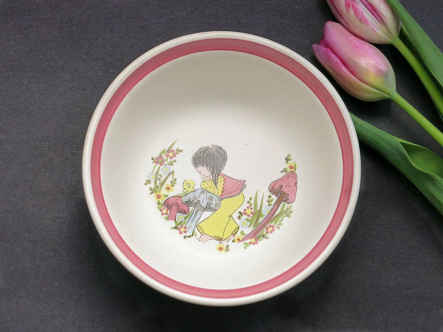 Denby Dream Weaver Pink Cereal Bowl - 1970s Denby Dreamweavers Soup Bowl - Denby England Childrenu0027s & Denby Dream Weavers Pink Cereal Bowl - 1970s Denby Dreamweavers Soup ...