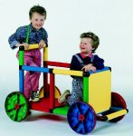 Quadro Basic II Indoor/Outdoor Play Structure comes with four wheels so your child can roll around in his go cart, climber, airplane and more; over 35 different plans come with this adventure play set for $476.88. Sold in the USA only.