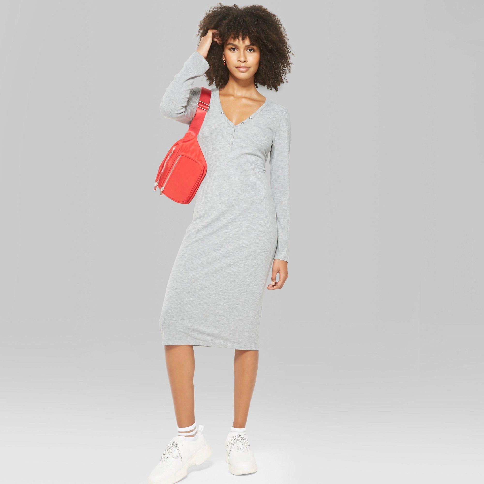 2a5ea0d70e08a Women s Long Sleeve Henley Midi Dress - Wild Fable Heather Gray XL ...