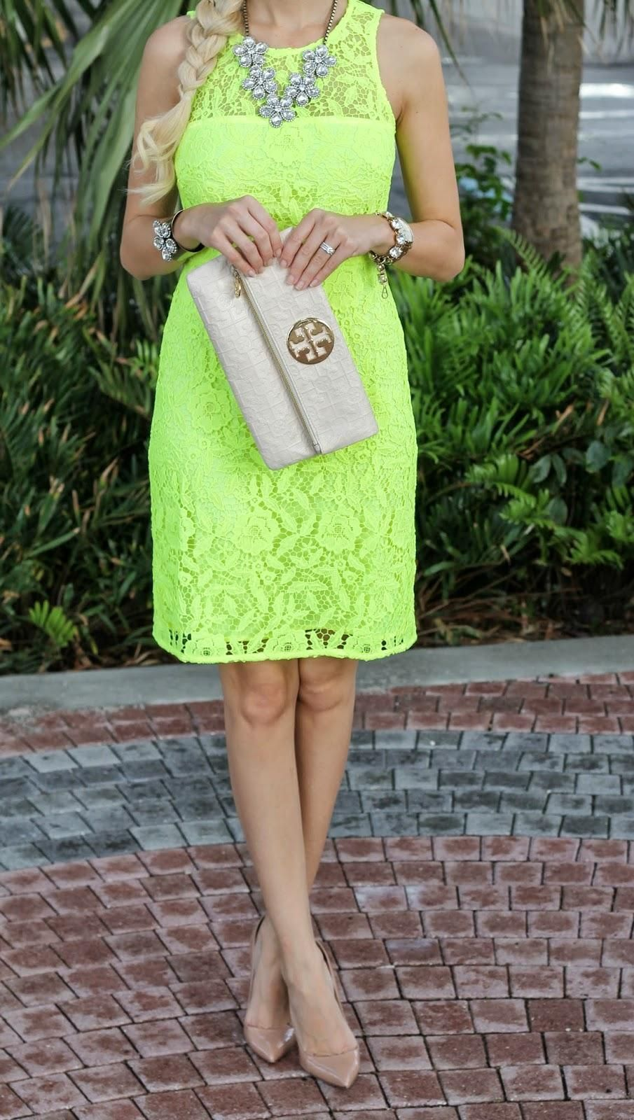 @Jade Scott pairs the dahlia necklace & cuff with neon lace & tory burch clutch