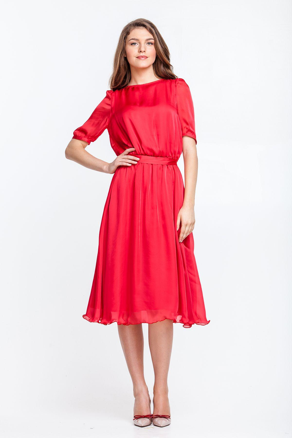 b7e1f93c889 2199 Платье красное шелковое