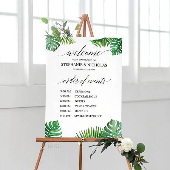 Tropical Printable Order Of Events Welcome Sign Template, Wedding Signage,Event Sign,Custom Wedding Sign,Editable PDF Instant Download #E027