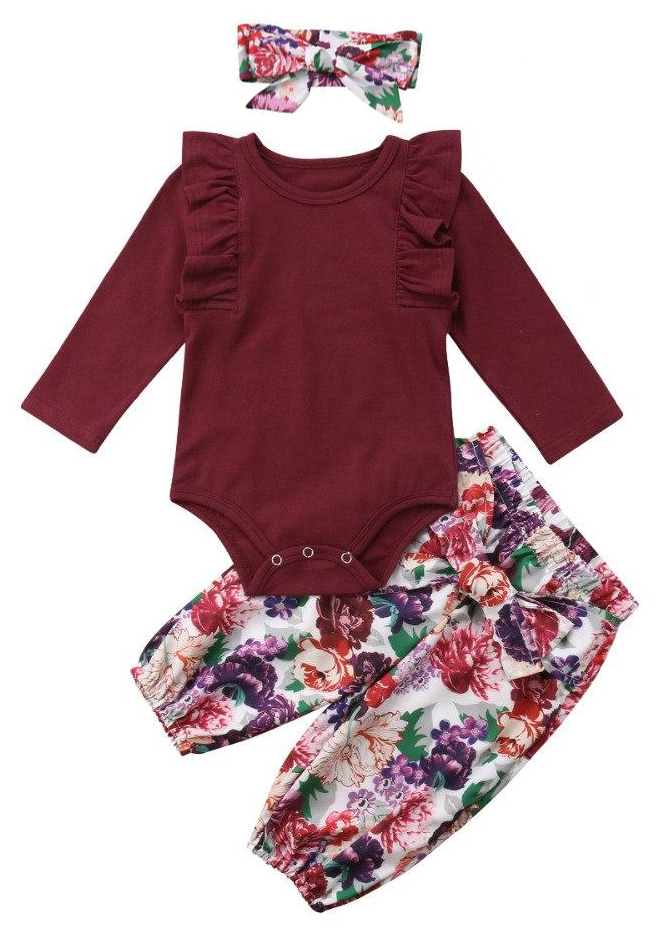 7c99e3f33d6 SALE 50% OFF + FREE SHIPPING! SHOP Our Burgundy Floral Set for Baby Girls