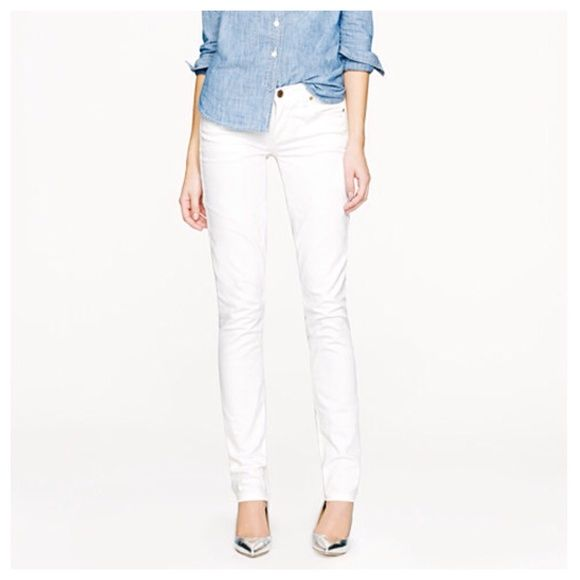 """J. Crew white matchstick jeans! White denim is a wardrobe staple and these skinny jeans by J. Crew are perfection! 98% cotton and 2% elastane for a little stretch. These measure 15"""" across waistband, 31.5"""" inseam and a 7.5"""" rise. Very good condition. A couple of faint marks near hem and at knee that will probably come out with a bleach pen! J. Crew Jeans"""