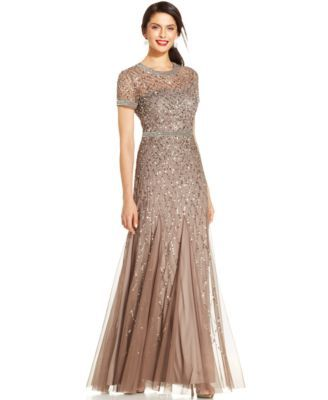 Adrianna Papell Short Sleeve Embellished Pleated Gown Macyscom