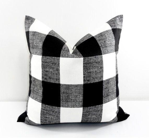 Black And White Buffalo Plaid Throw Pillow In 2020 Plaid Throw Pillows Rust Colored Throw Pillows Throw Pillows