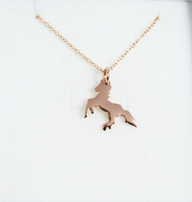 Great gift for sister. Lovely Charm Necklace in yellow gold / Playful Sterling Horse Necklace. Horses symbolise personal drive, passion and appetite for freedom – a unique product by Dainty-Nomad via en.DaWanda.com