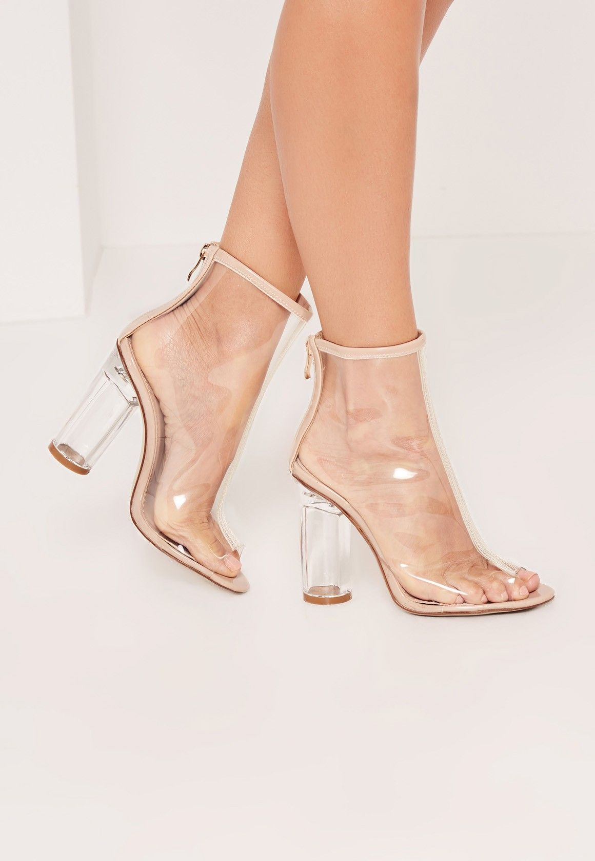 Missguided - Nude Perspex Peep Toe Heeled Ankle Boots