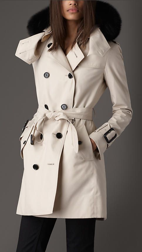 cd049b60475f Mid-Length Technical Cotton Fur Trim Hooded Trench Coat   Burberry