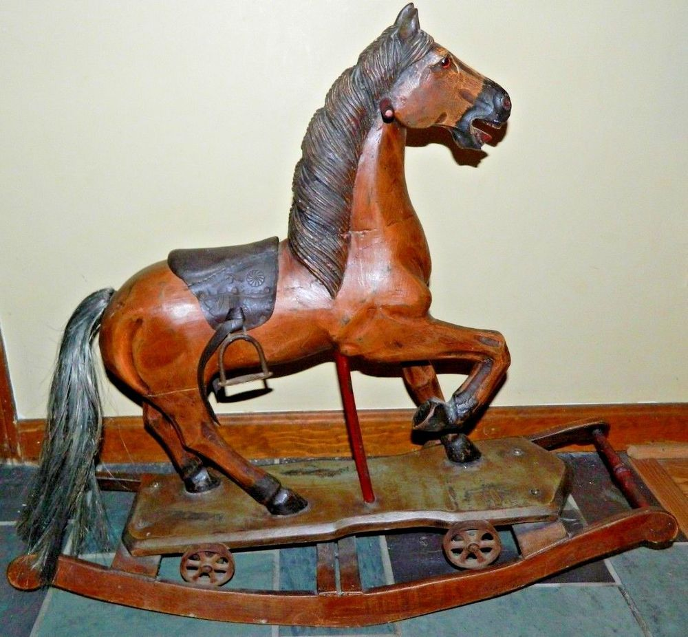 Vintage Rocking Horse With Metal Wheels Professionally Appraised For Value Rocking Horse Toy Rocking Horse Wooden Rocking Horse