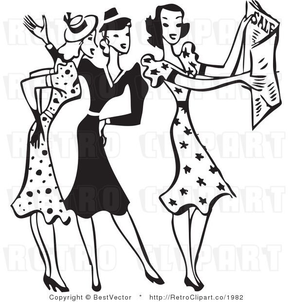 Retro Clipart Of Young Fashionable Ladies Looking Through Fashion Sale Newspaper