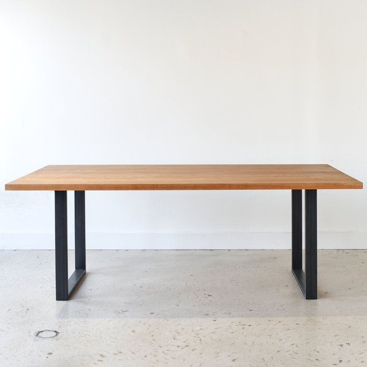 Our White Oak Modern Dining Table With Hand Welded U Shaped