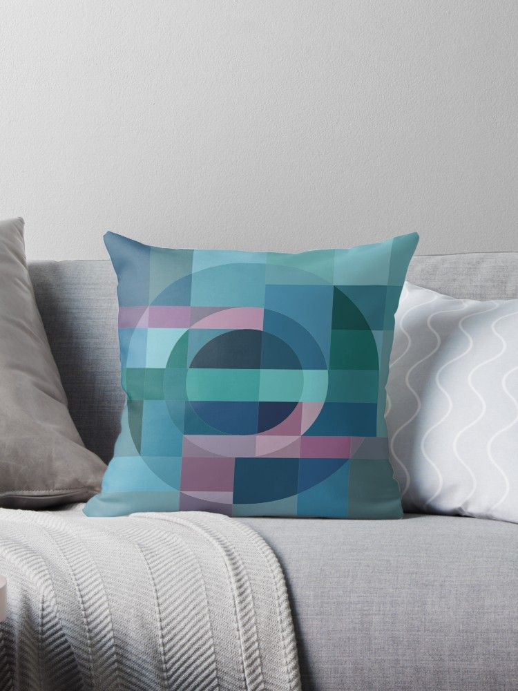 Abstract Geometric Circle In Blue Green And Pink Colors Millions Of Unique Designs By Independent Artists Find Pillows Throw Pillows Printed Throw Pillows