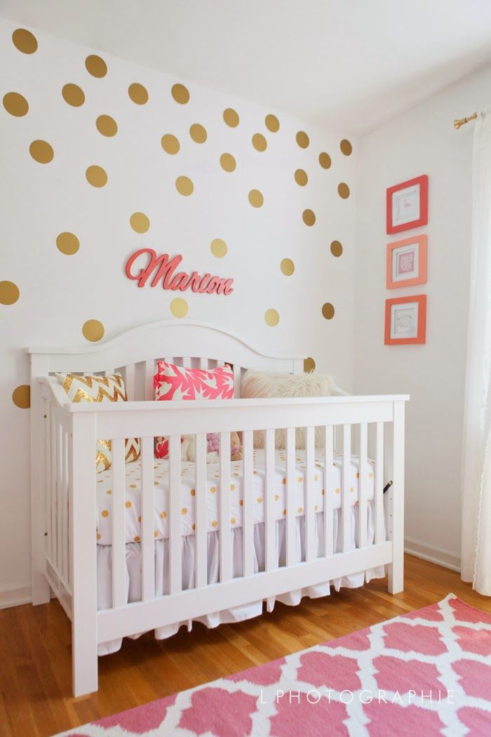 Mims Coral Gold  White Nursery Gold Dot Wall Decal With - Nursery polka dot wall decals