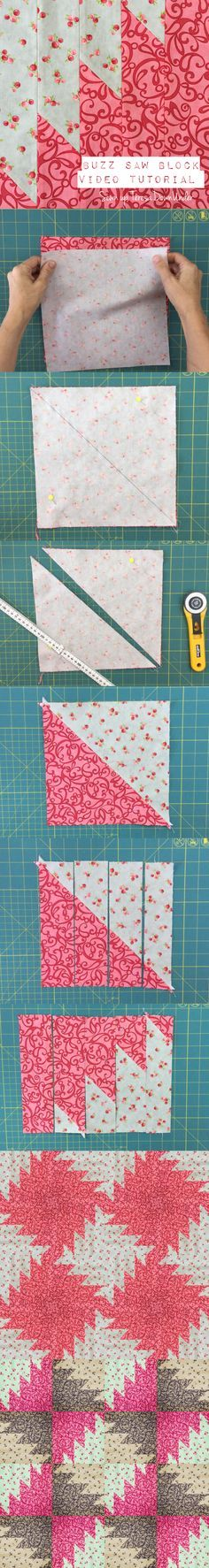 Video tutorial: Buzz saw patchwork block | Patchwork, Anleitungen ...
