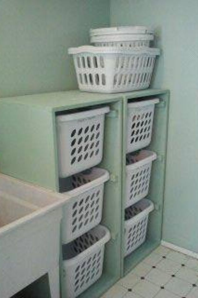 A Way To Keep Laundry Organized And Off The Ground I Have Used This