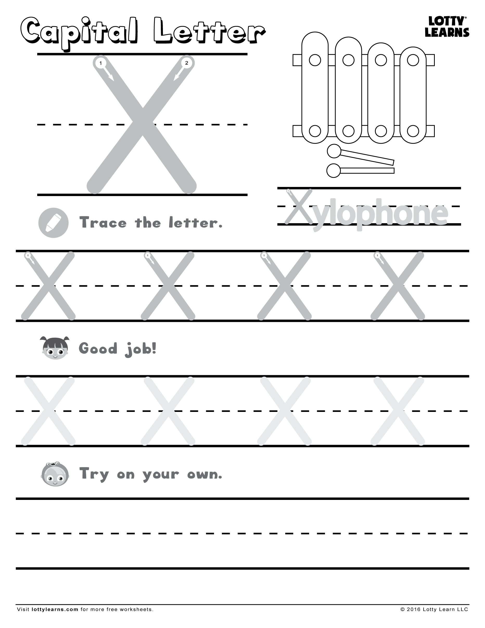 Capital Letter X Lotty Learns – Capital Letter Worksheets for Kindergarten