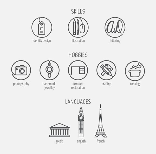 cv icons by anastasia dimitriadi  via behance