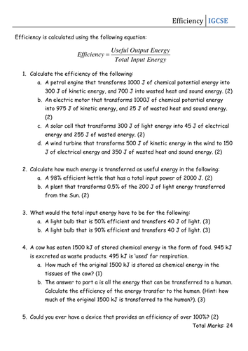 Worksheet - Efficiency | Energy | Teaching resources, Energy ...