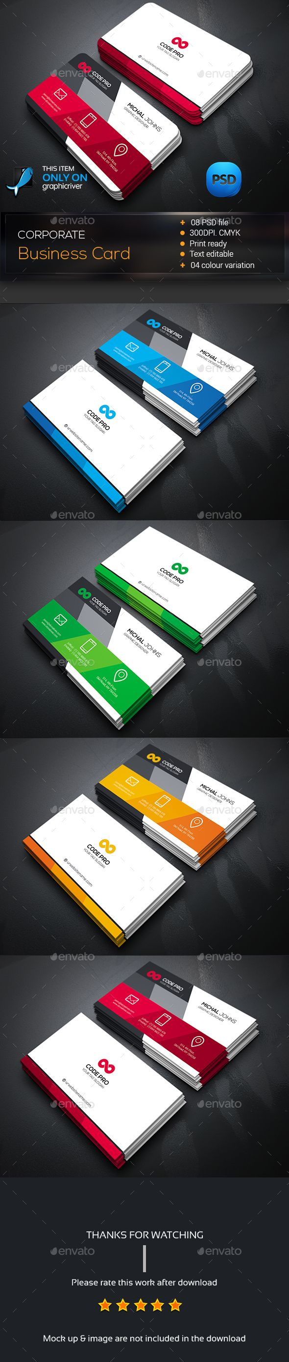 Business Card Template PSD #design Download: http://graphicriver ...