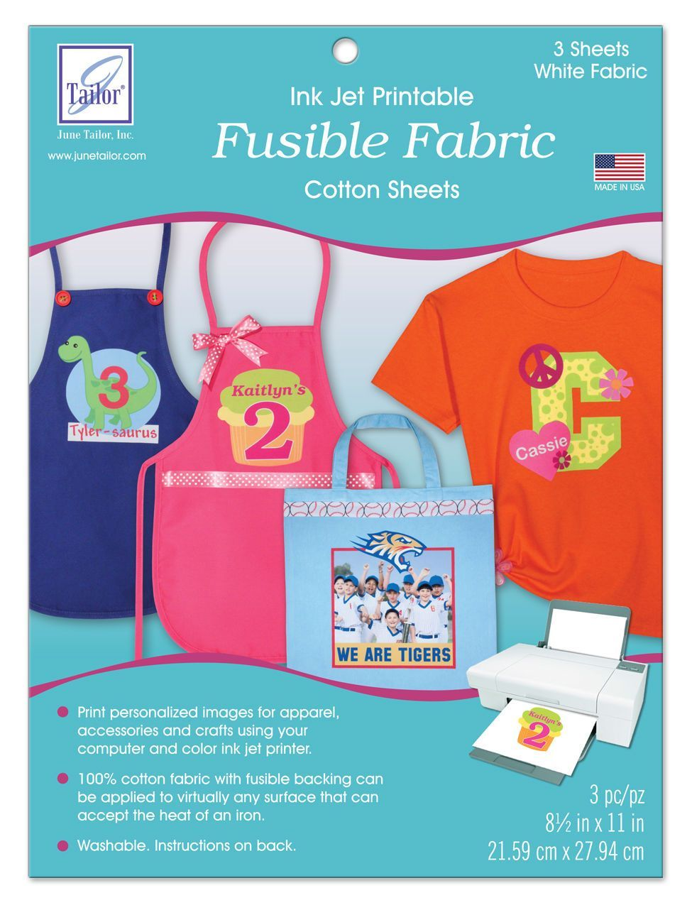 June Tailor Inkjet Printable Fusible Fabric-3 sheets per
