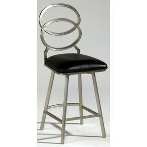 Chintaly Imports Nickel Plated Memory Return Swivel Counter Stool in Black