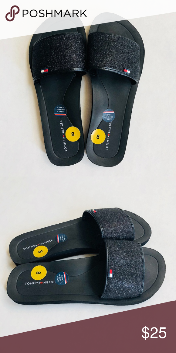 922a80810 Tommy Hilfiger Black Glitter Slides Size  Women s 8 Extra Comfort Layer  Iconic TH Red