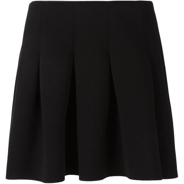 T By Alexander Wang Scuba Neoprene Skirt (£220) ❤ liked on Polyvore featuring skirts, black, neoprene skirt, box pleat skirt, short skirts, t by alexander wang and t by alexander wang skirt