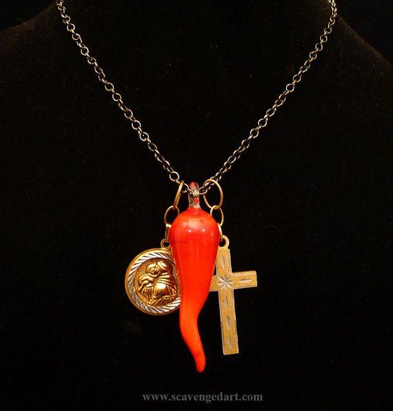 Unisex Necklace Lucky Italian Charms Italian Horn Saint Anthony