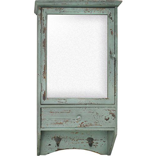 Distressed Wooden Mirrored Wall Cabinet with Drawer and ...