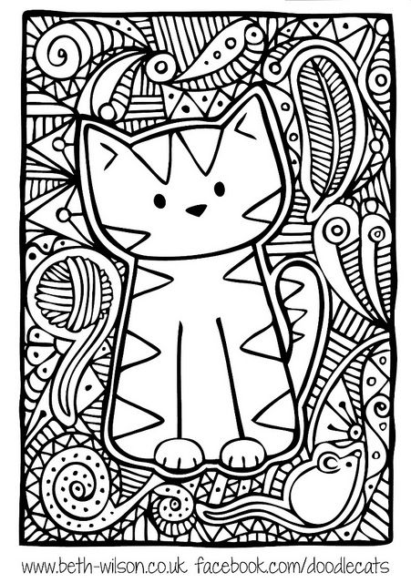 Doodle Cat By Starpixie Adult Coloring Pages Boyama Sayfalari