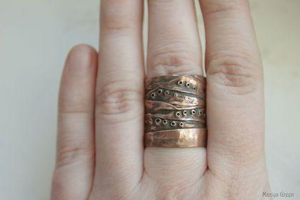 Кольца ручной работы. Морское кольцо. Мария Green. Интернет-магазин Ярмарка Мастеров. Море, октопус, волны, медное кольцо