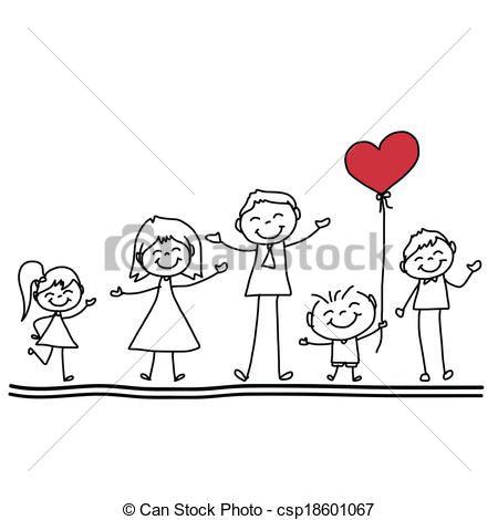 Clip Art Vector Of Hand Drawing Cartoon Happy Family Hand Drawing Cartoon Csp18601067 Search Cl Family Drawing Family Cartoon Drawing Cartoon Characters
