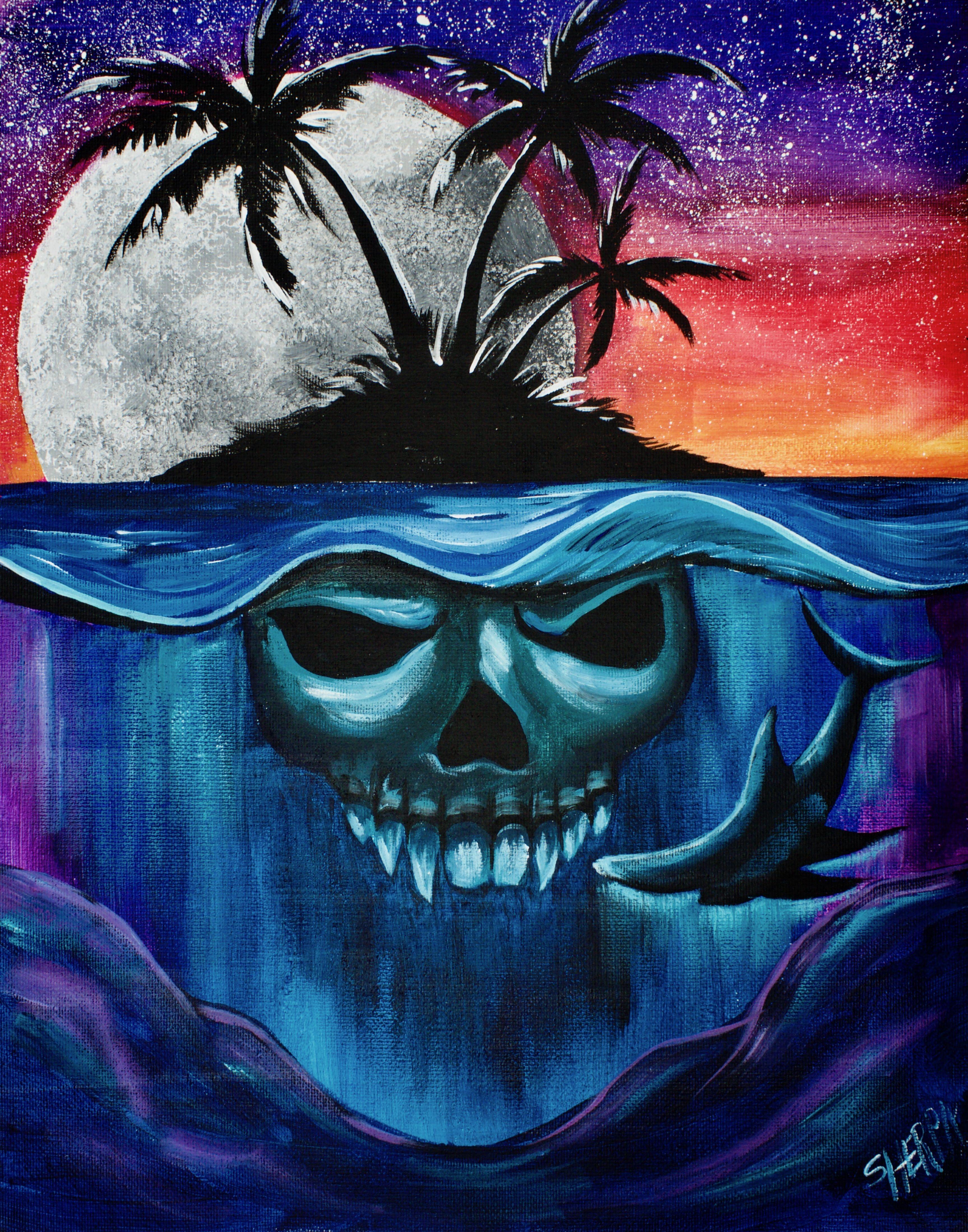 Design muse shark week - Mako Shark And Skull Island Step By Step Beginners Acrylic Painting Tutorial Sharkweek Sharkweek2017 Mako Art With Me In The Easy Acrylic Painting Lesson