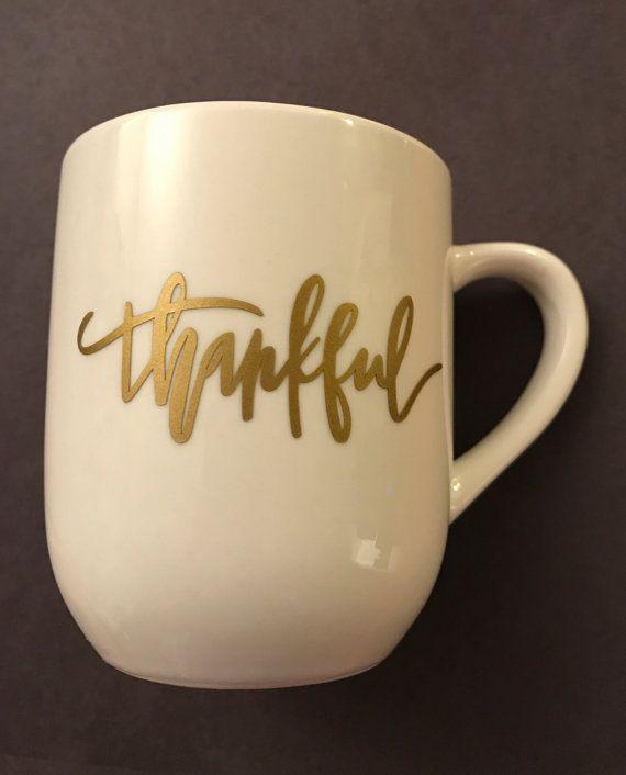 thankful coffee mug white mug gold letters coffee by thenerdybirds