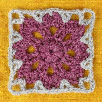 Libre Crochet Patrón: Flores en la plaza afgano Ventana | Qué alegre ...