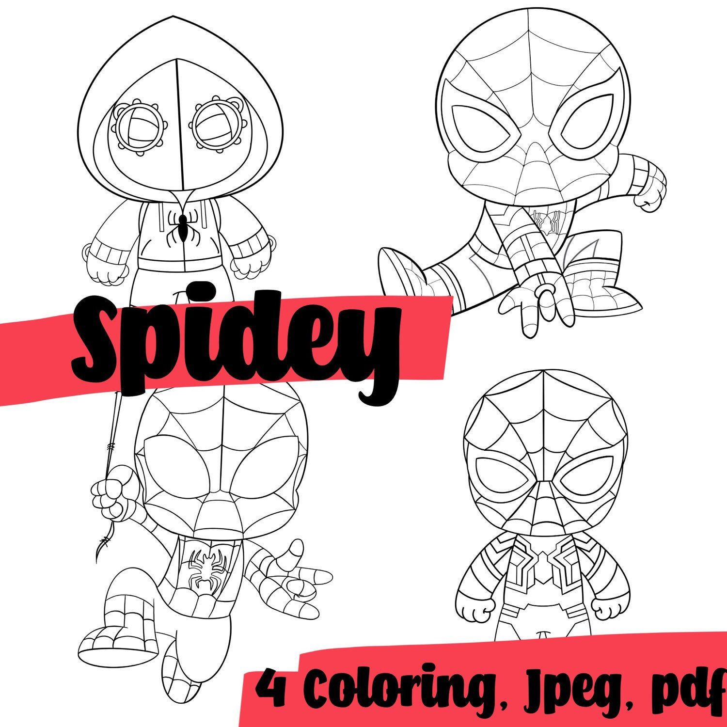 Coloring Pages Spider Man 4 Of Set Paper Game For Kids Etsy Paper Games For Kids Paper Games Spiderman