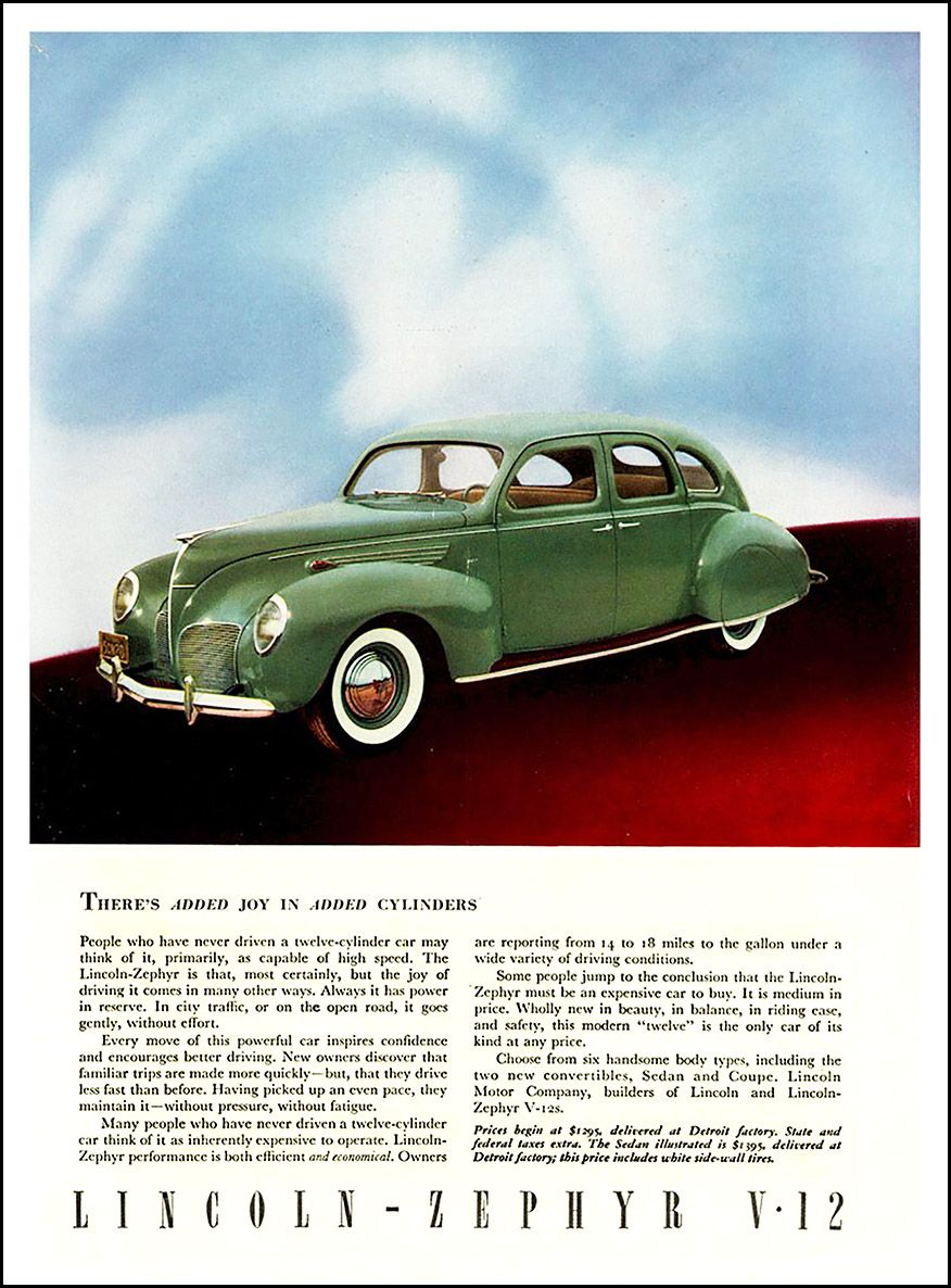 1938 Lincoln Zephyr Ad There S Added Joy In Added Cylinders