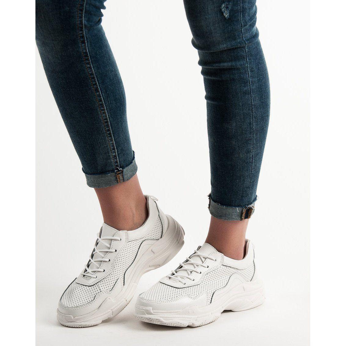 Goodin Biale Skorzane Sneakersy Shoes White Sneaker Sneakers