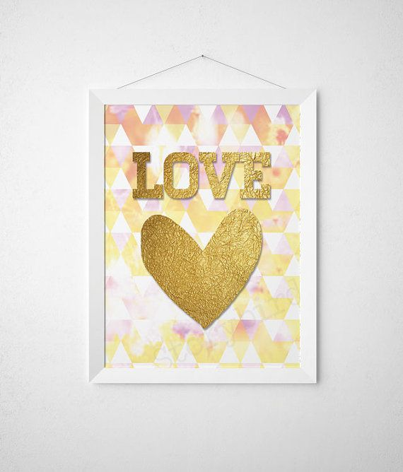 Love Geo Shapes Faux Gold Foil Wall Art by StorybirdPrints, $6.00 ...