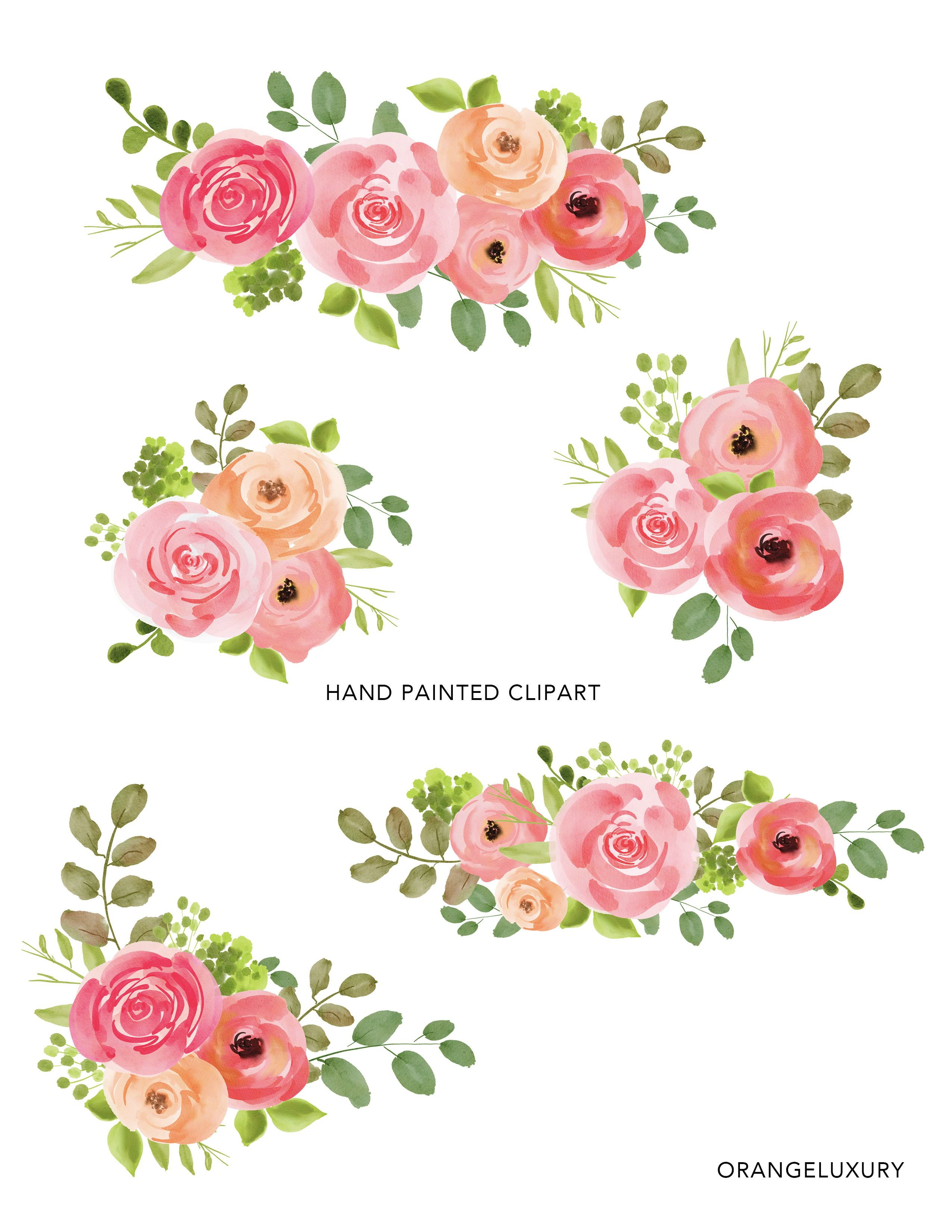 Simple Watercolor Flowers Clipart Roses Floral Clip Art Leaves Branch Bouquet Png Digital Download Hand Painted Wedding Invitation In 2021 Simple Watercolor Flowers Easy Flower Painting Free Watercolor Flowers