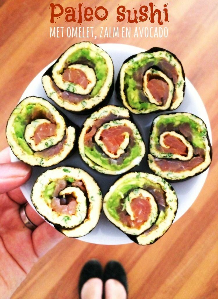 Jun 6 Paleo sushi met omelet, zalm en avocado | Paleo sushi, Met and Food