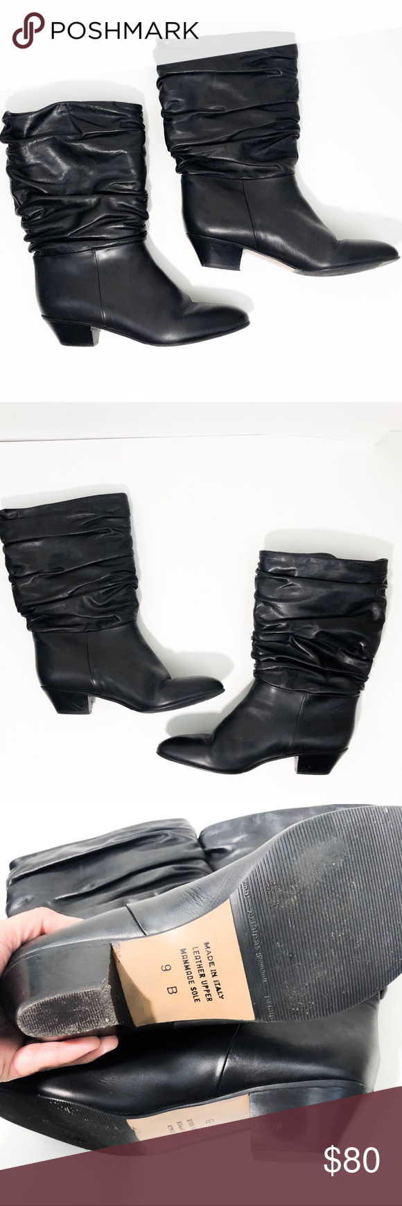 31d9c75416 Sudini Slouchy Mid Calf Black Leather Boots Size 9 Beautiful slouchy mid  calf boots from SUDINI