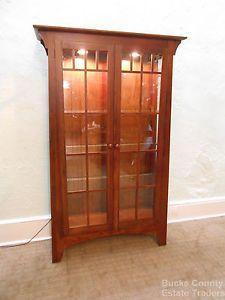 Ethan Allen Solid Cherry Mission Style Lighted Curio Display China Cabinet