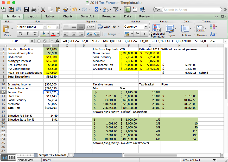 Free Tax Estimate Excel Spreadsheet for 2019/2020