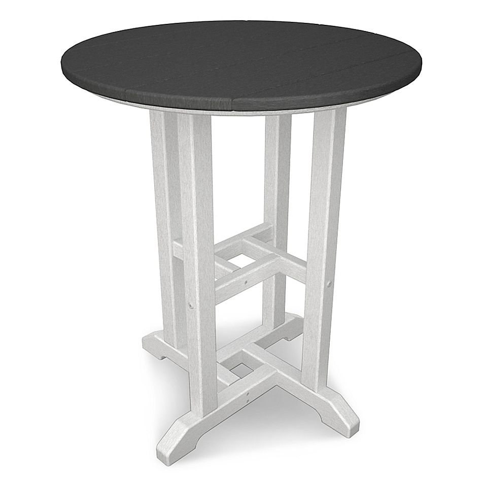 Polywood Contempo 24 Round Dining Table In White Slate Grey