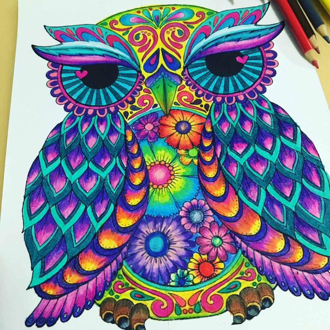 Love Brilliant Colors Coloring For Adults Owl Coloring Pages Coloring Book Art Geometric Art