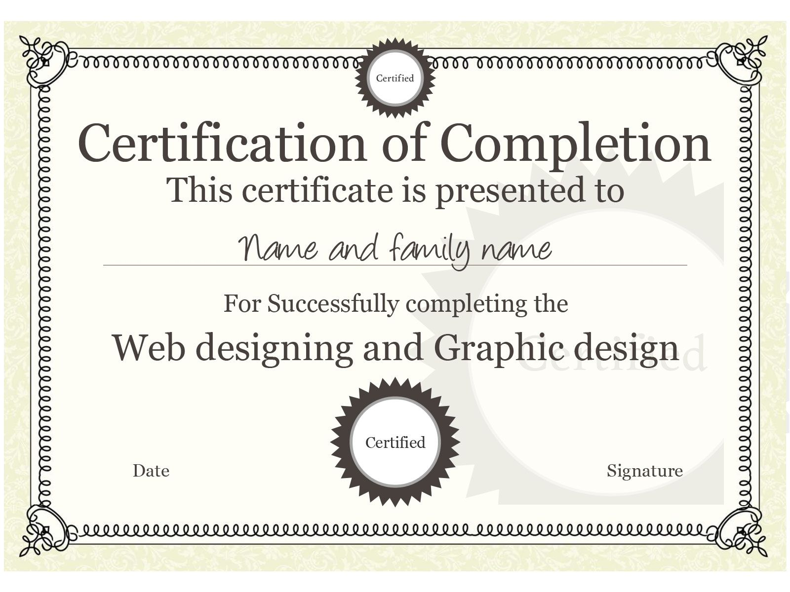 Sample certificate of completion template sample certificate of example certificate template you can download this one and yadclub Gallery