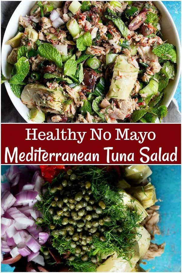 Ditch the mayonnaise and try this Mediterranean tuna salad. This no mayo tuna salad is packed with delicious ingredients like artichokes and herbs. #tunasalad #nomayosalad #nomayotunasalad #saladrecipes #MostHealthyFoodInTheWorld