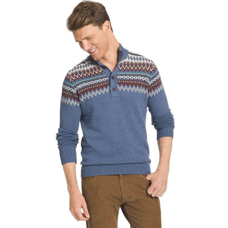 Big & Tall IZOD Classic-Fit Fairisle Henley Sweater, Men's, Size ...